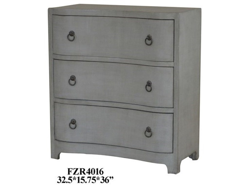 Crestview Collection Accent Furniture3 Curved Drawer Grey Linen Chest
