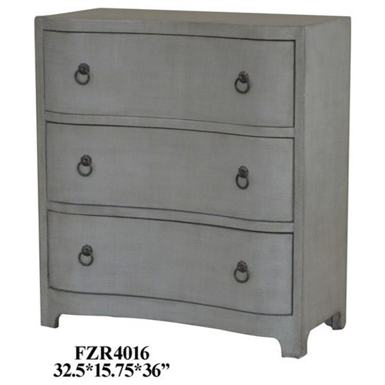 Crestview Collection Accent Furniture Brookstone Brushed Grey Linen Finish  Chest W/ 3 Curved Drawers