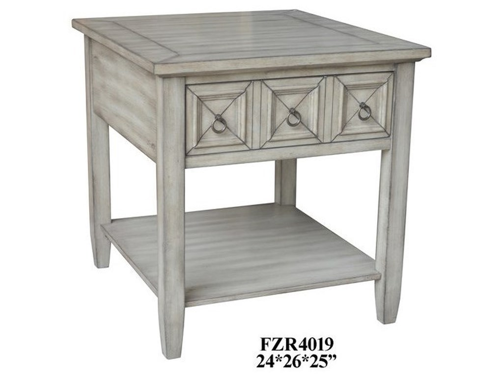 Crestview Collection Accent FurnitureWhite Ash Rectangle End Tab