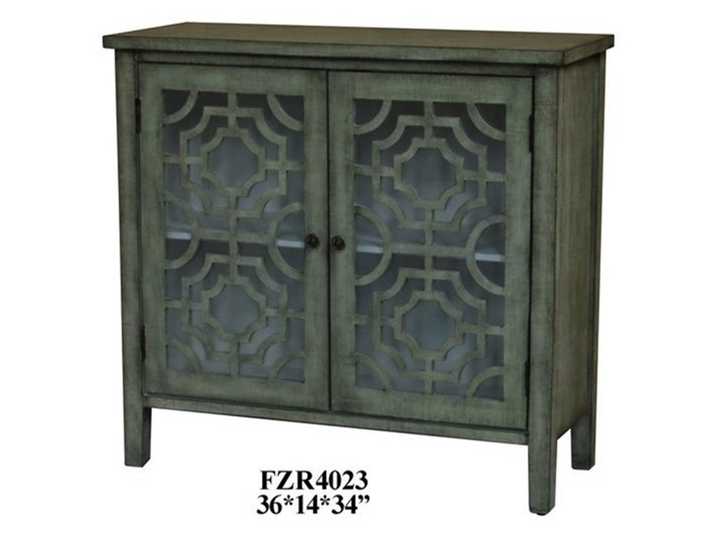 Crestview Collection Accent FurnitureLight Green 2 Door Patterned Cabinet