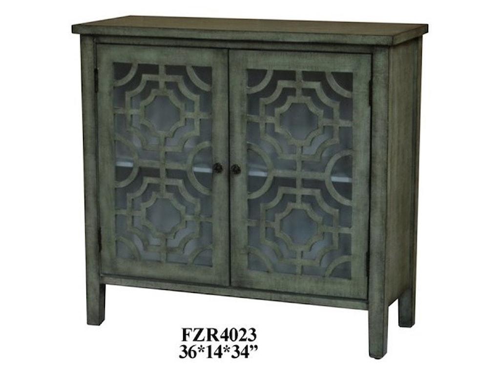 Crestview Collection Accent FurnitureLight Green 2 Door Patterned Cabinet