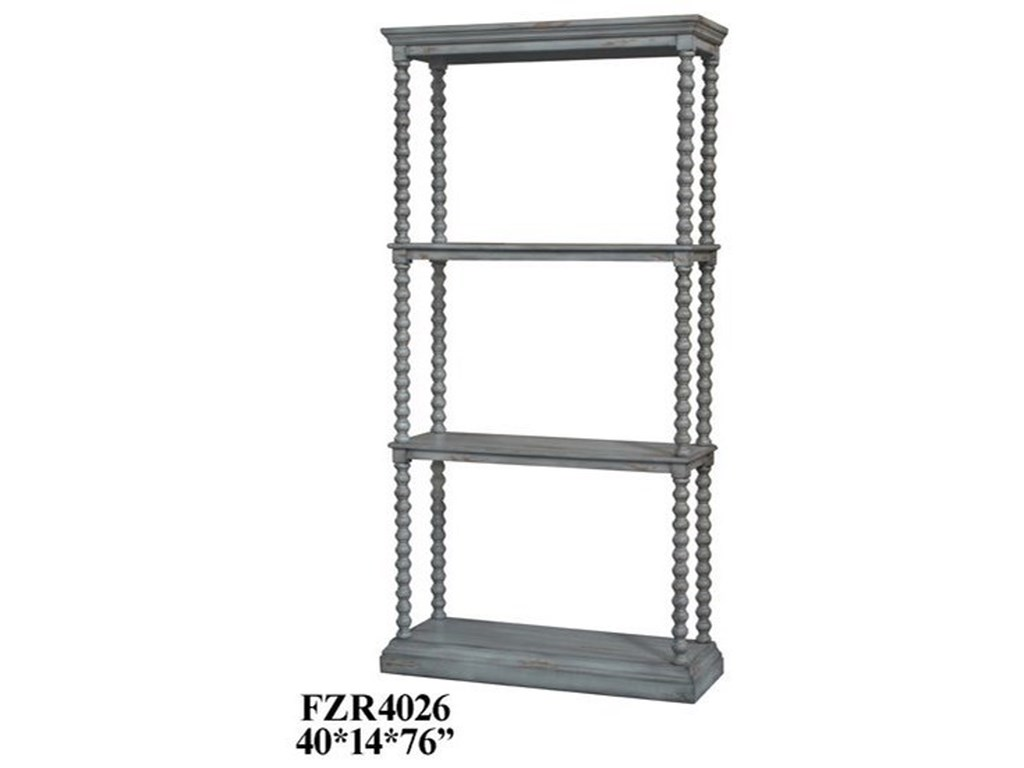 Crestview Collection Accent FurnitureTurned Leg Antiqued Grey Etagere