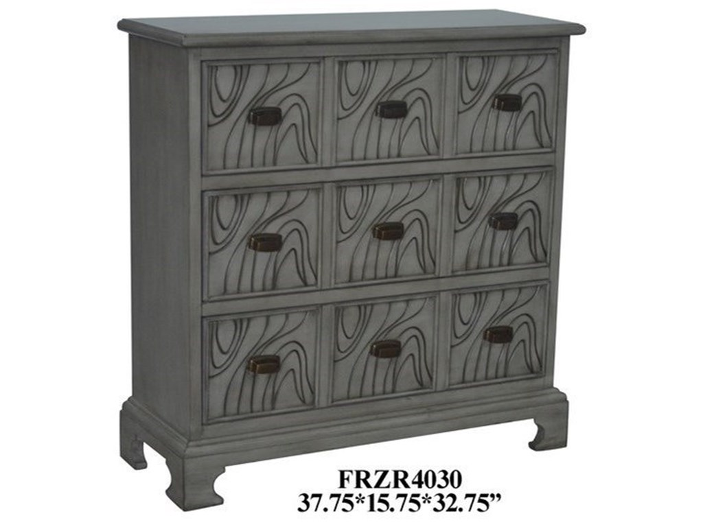 Crestview Collection Accent FurnitureWavy 3 Drawer Stone Grey Chest