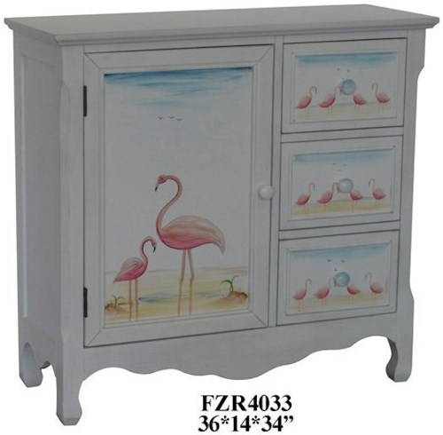 Crestview Collection Accent Furniture Pink Flamingo 3 Drawer and 1 Door Cabinet