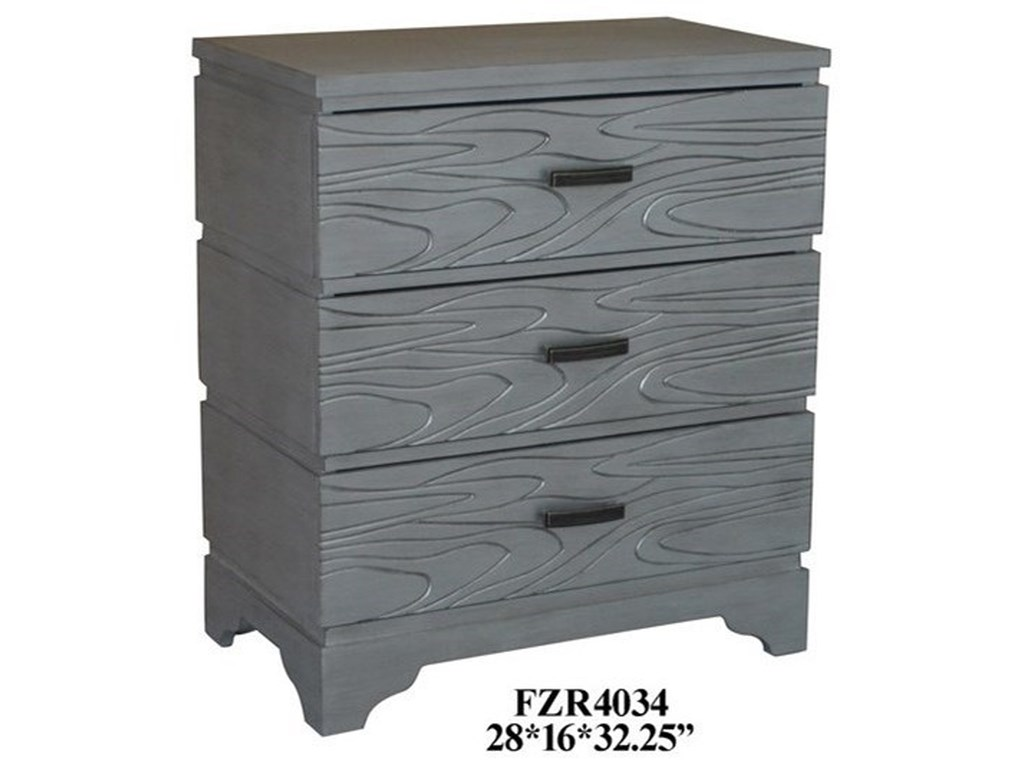 Crestview Collection Accent FurnitureSilver Groove 3 Drawer Accent Chest