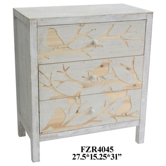 Charmant Crestview Collection Accent Furniture Morning Dove 3 Drawer White Washed  Chest
