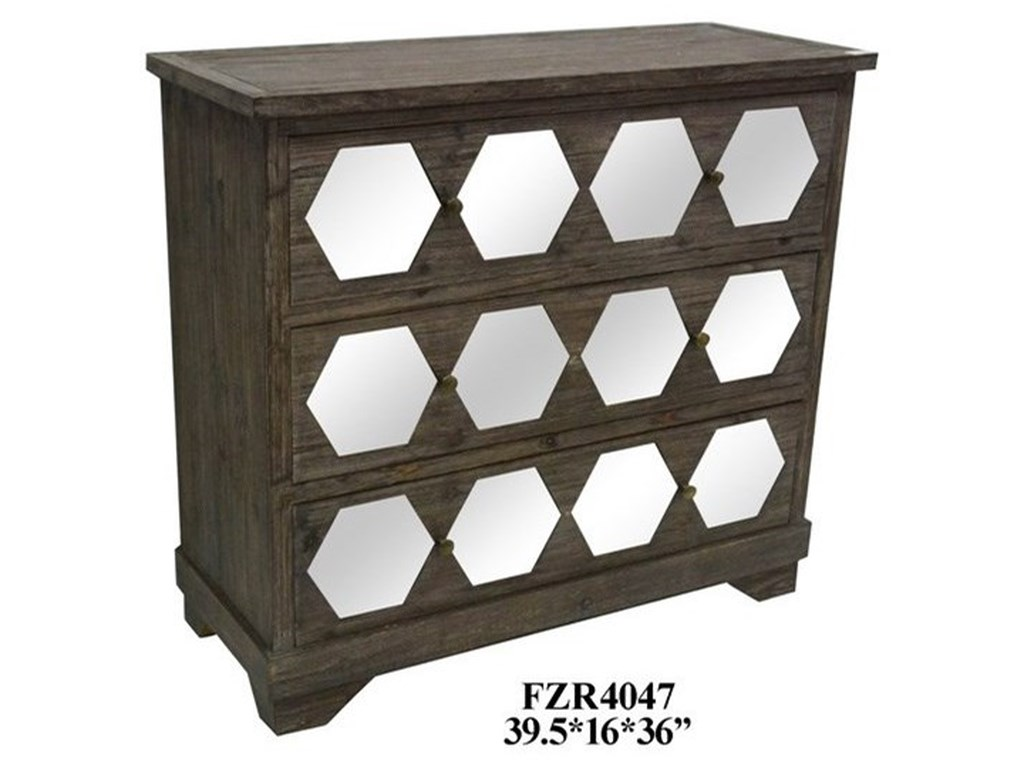 Crestview Collection Accent Furniture3 Drawer Rustic Wood and Mirrored Chest