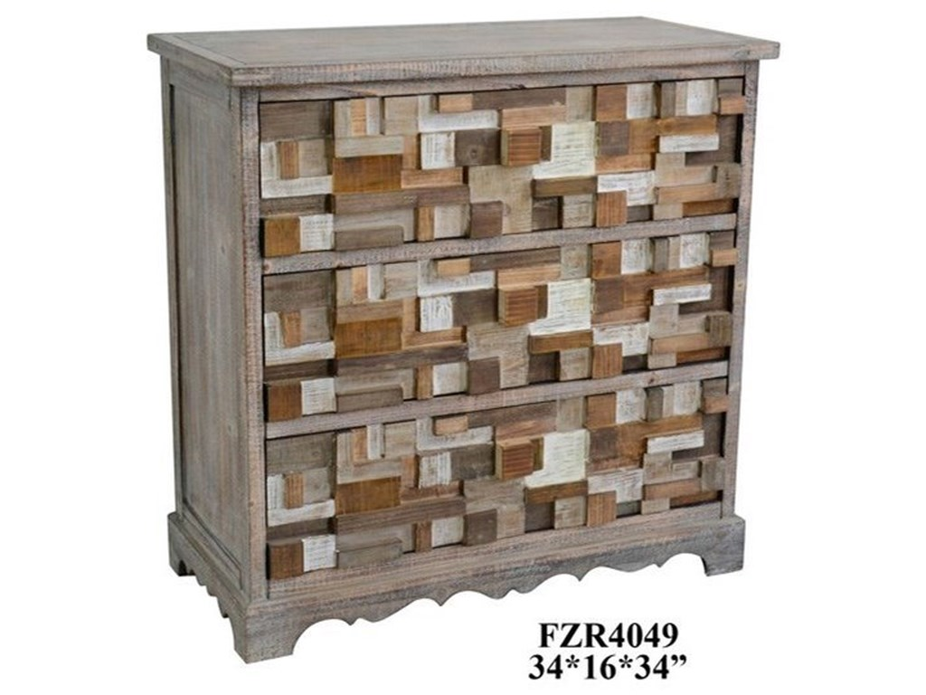 Crestview Collection Accent Furniture3 Drawer Raised Block Chest