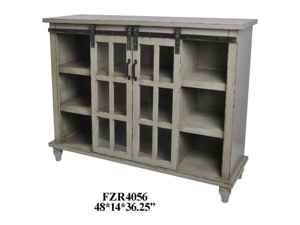 Crestview Collection Accent FurnitureAntique Grey Sliding 2 Door Console