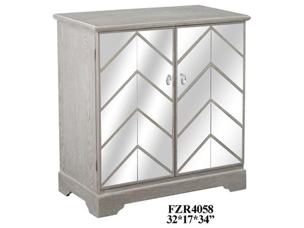 Crestview Collection Accent FurnitureChevron Mirror and Wood Cabinet