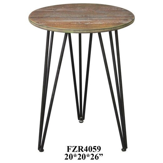 Crestview collection accent furniture rockport rustic wood and metal accent table