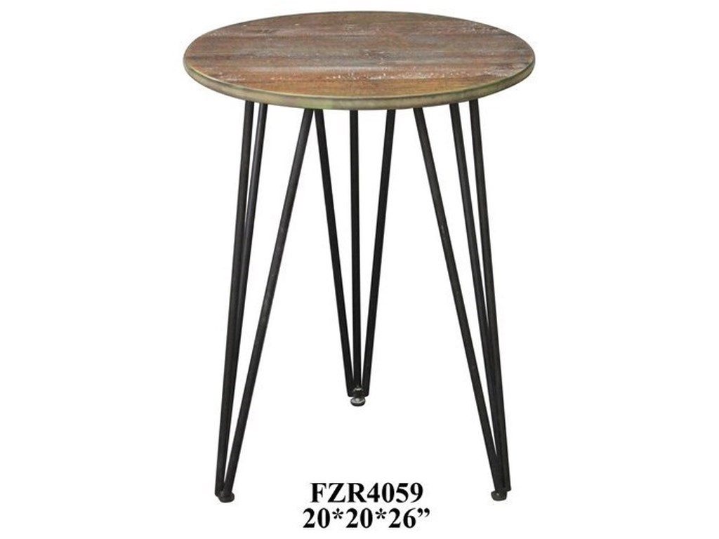 Crestview Collection Accent FurnitureRustic Wood and Metal Accent Table