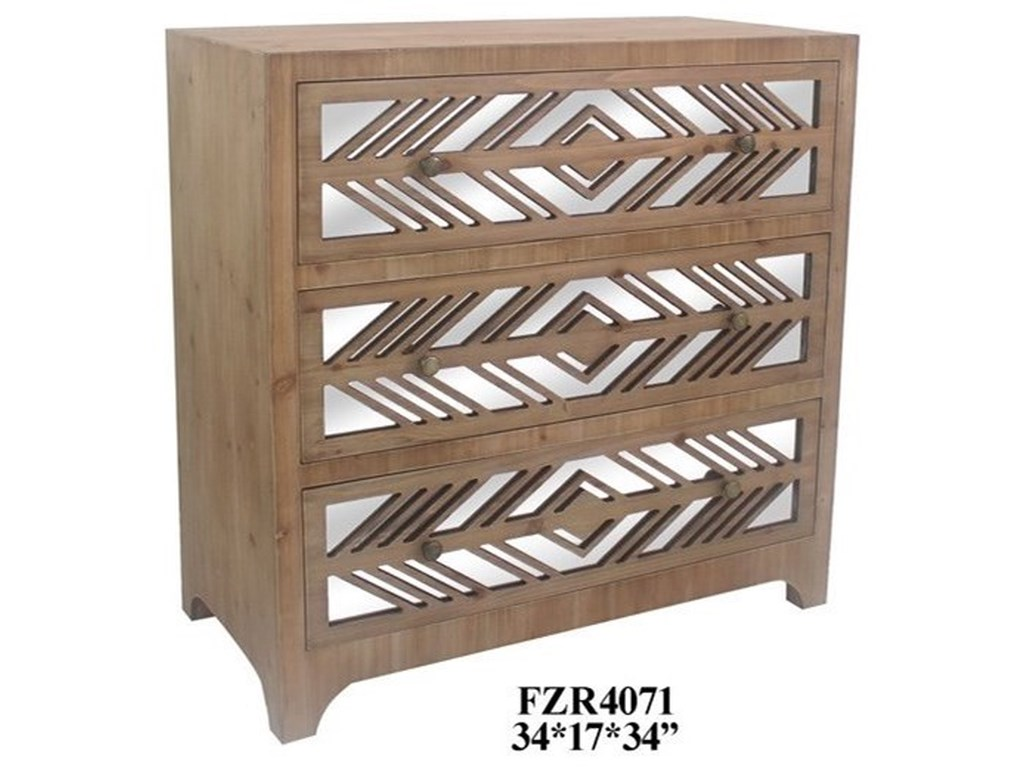 Crestview Collection Accent FurnitureRustic Wood and Mirror 3 Drawer Chest