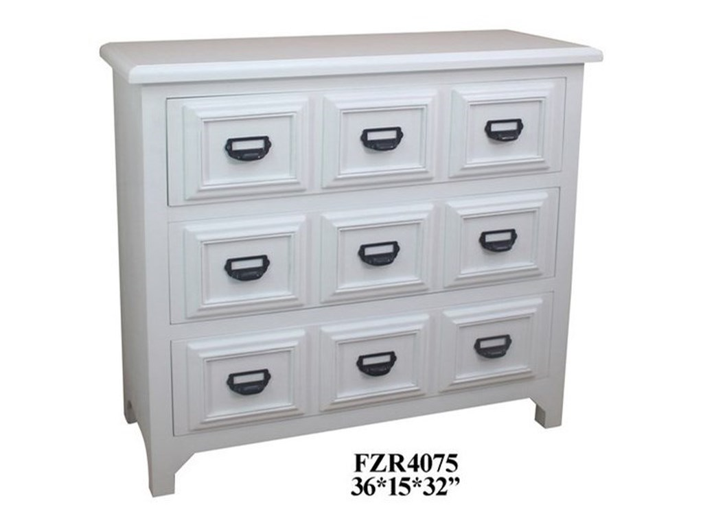 Crestview Collection Accent Furniture3 Drawer White Chest