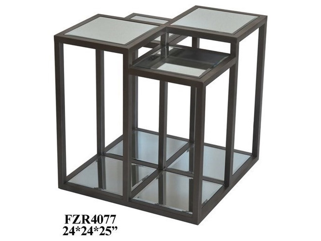 Crestview Collection Accent FurnitureMetal and Mirror End Table