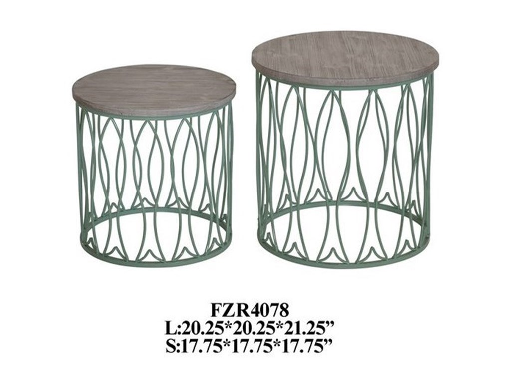 Crestview Collection Accent FurnitureSeafom Green Metal Fish Accent Tables