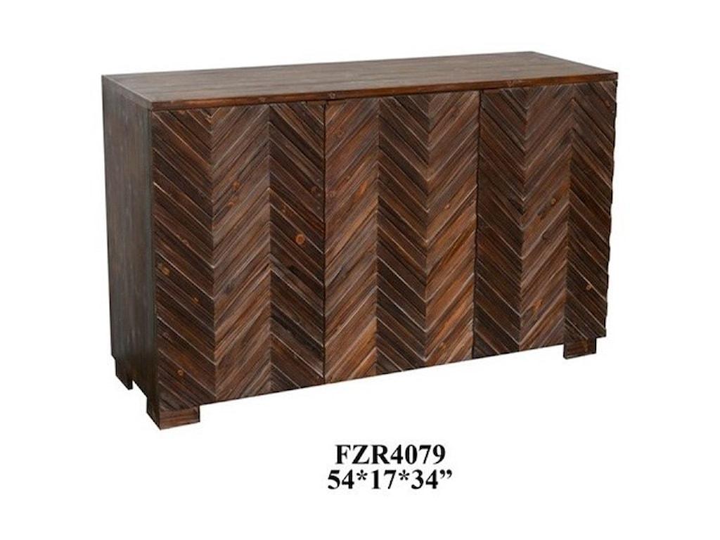 Crestview Collection Accent FurnitureRaised 3 Door Rustic Wood Sideboard
