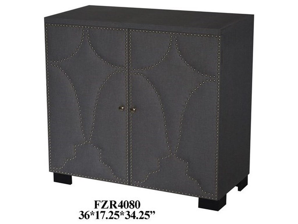 Crestview Collection Accent Furniture2 Door Grey Linen Nailhead Cabinet
