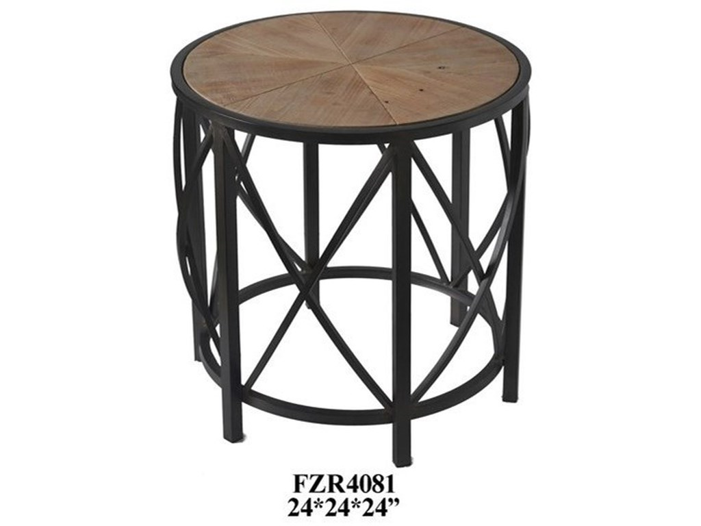 Crestview Collection Accent FurnitureMetal and Rustic Wood End Table
