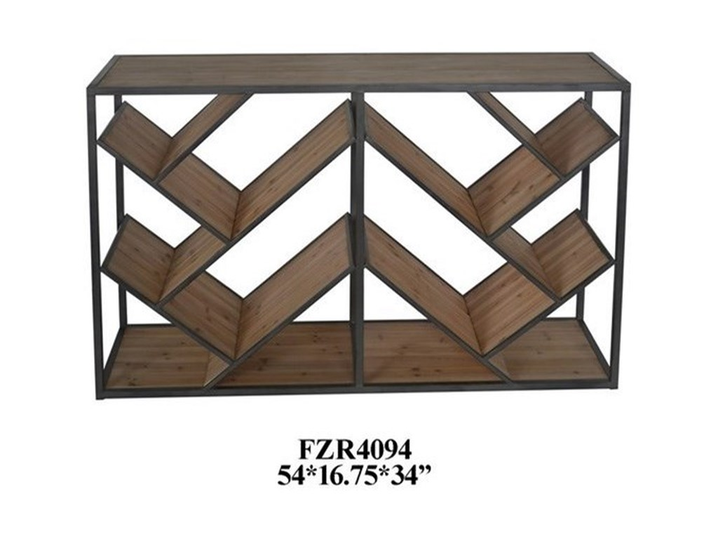 Crestview Collection Accent FurnitureMetal and Wood Angled Console