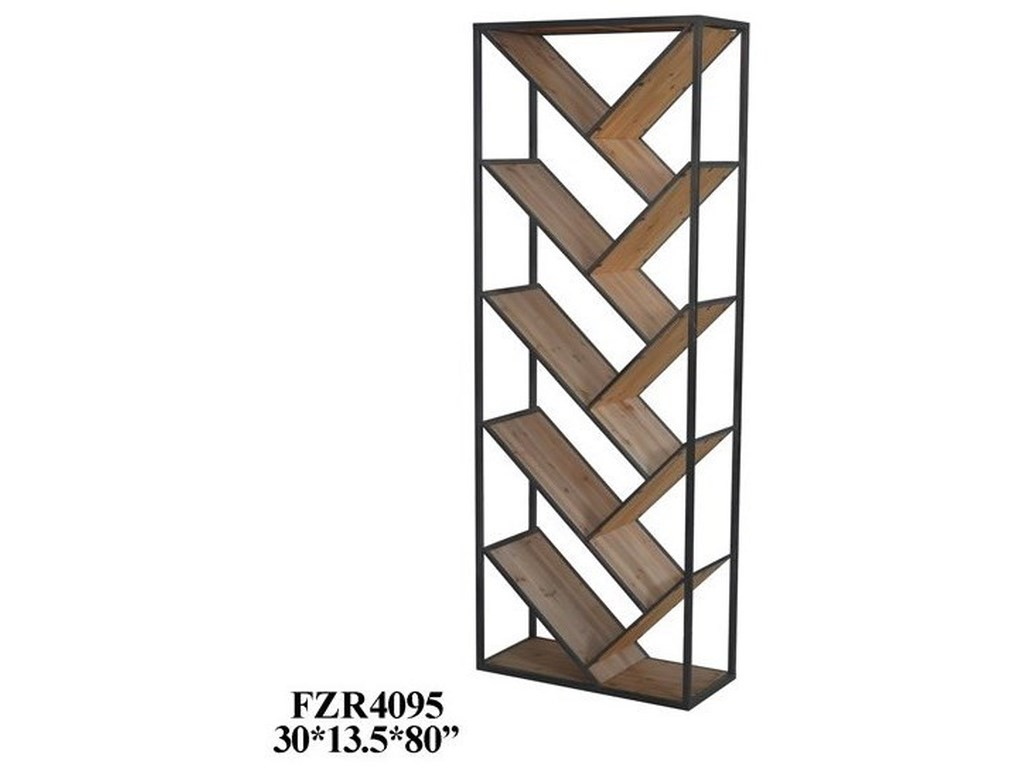 Crestview Collection Accent FurnitureMetal and Wood Angled Etagere