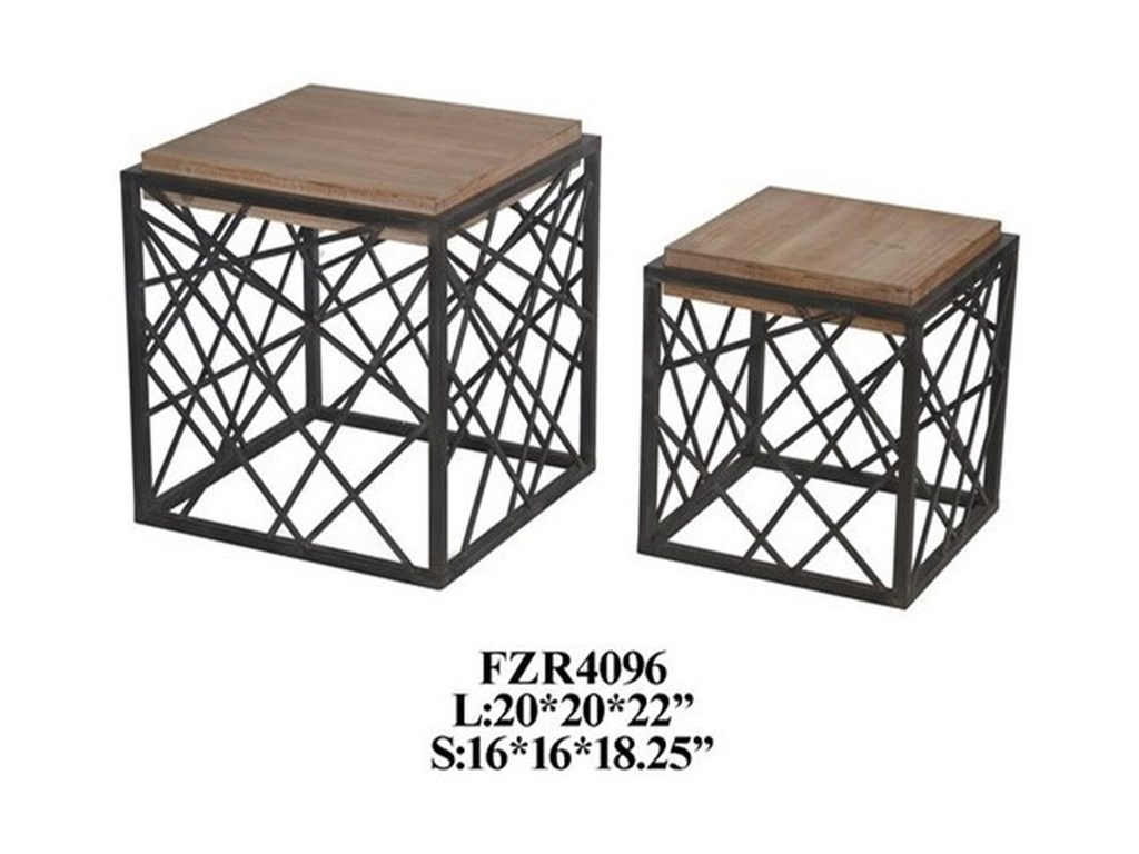 Crestview Collection Accent FurnitureMetal and Wood Square Nested Table