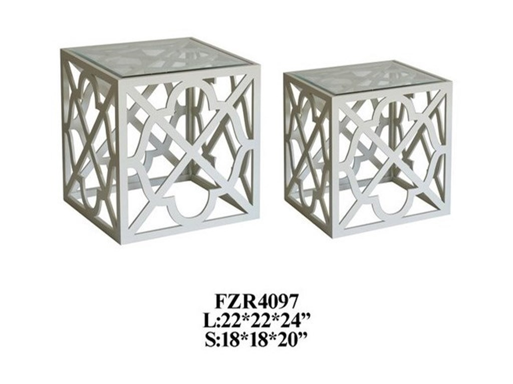Crestview Collection Accent Furniture2 Patterned Square Nested Tables