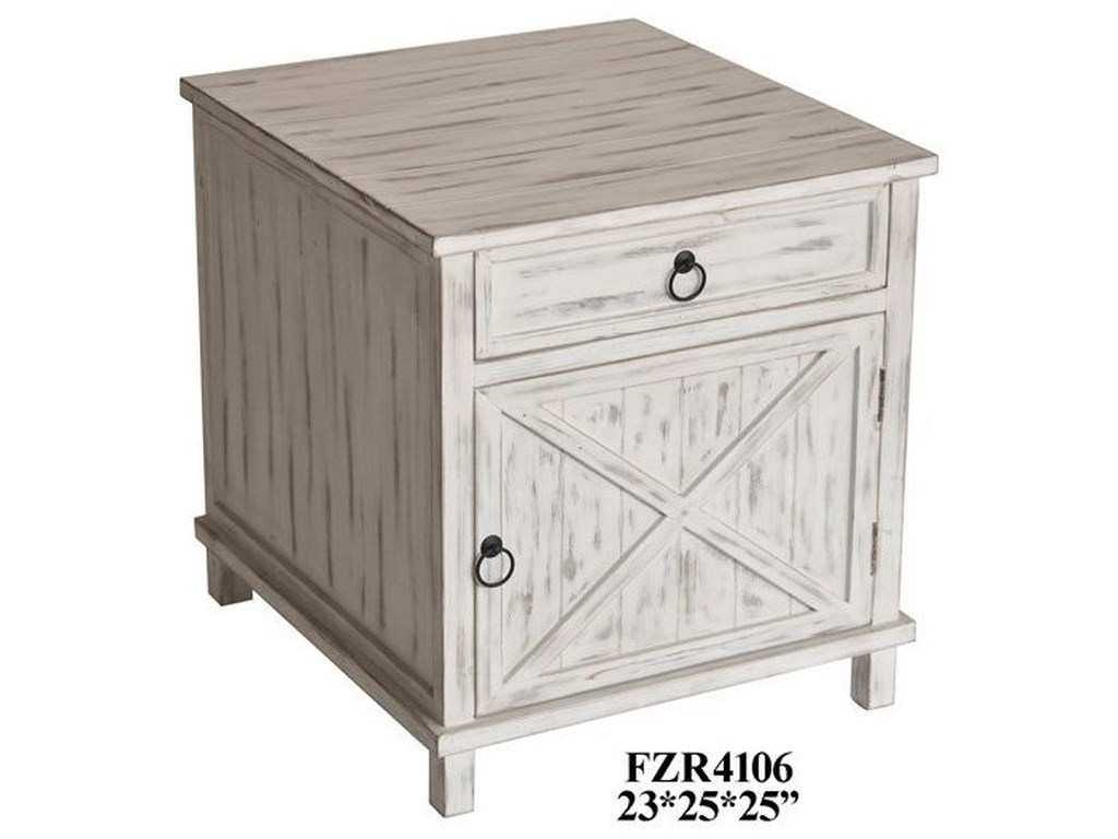 Crestview Collection Accent Furniturewhite Wash End Table