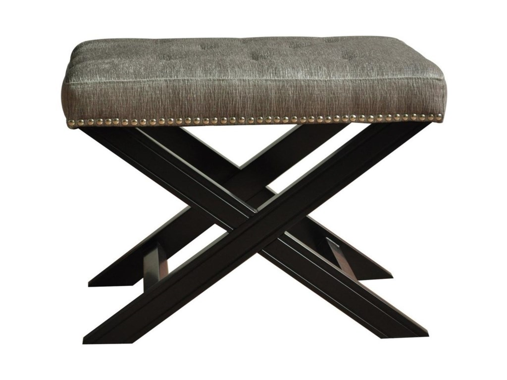 Crestview Collection Accent FurnitureFifth Ave Textured Silver Nailhead Stool
