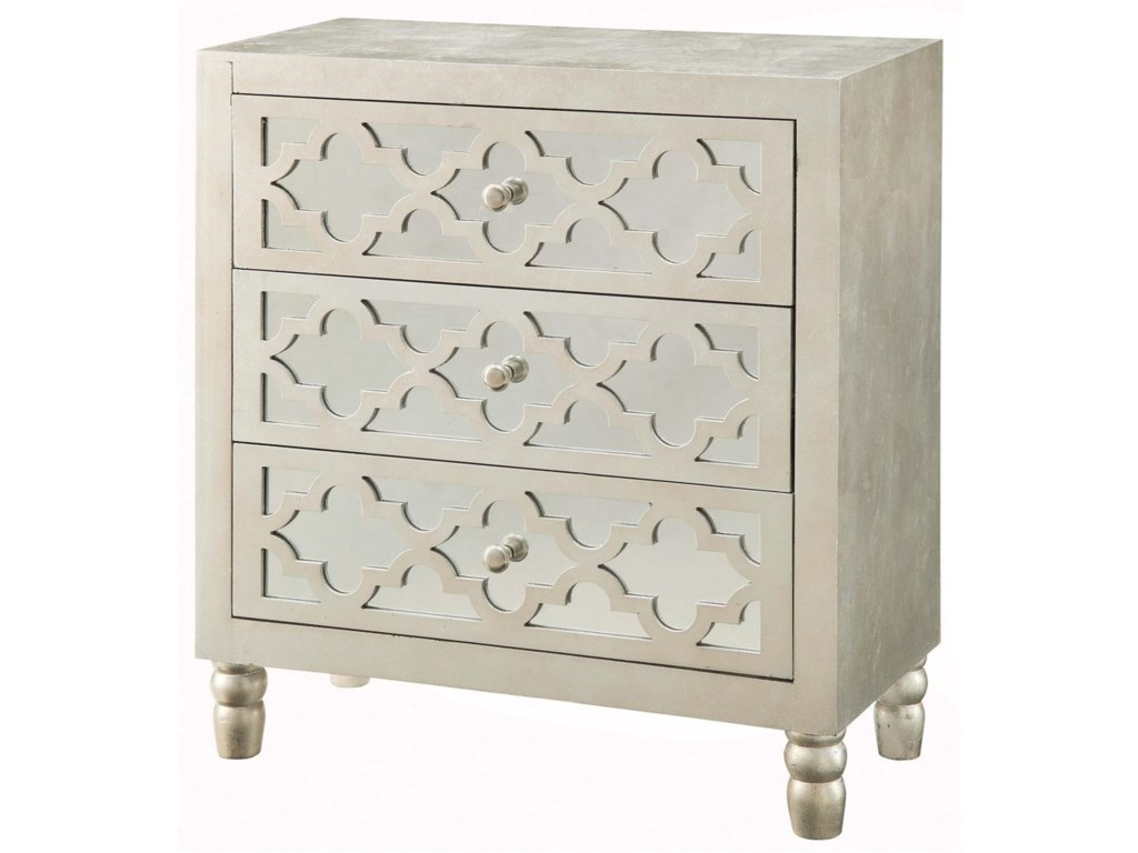 Crestview Collection Accent FurnitureNewcastle 3 Drawer Silver Leaf Chest