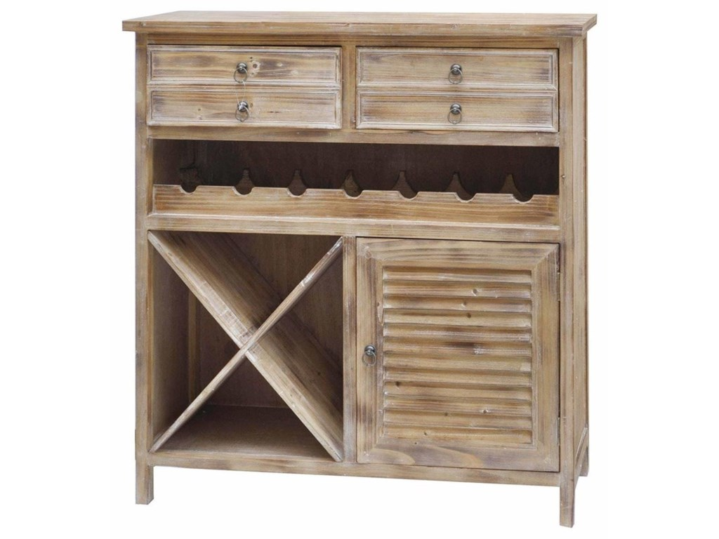 Crestview Collection Accent Furniture Jackson 2 Drawer Weathered Oak Wine Cabinet