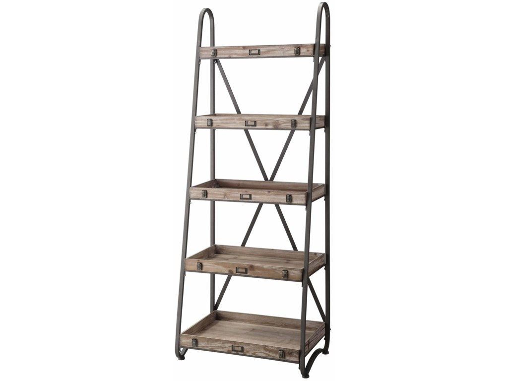 Crestview Collection Accent FurnitureVoyager Metal And Wood Tiered Bookshelf
