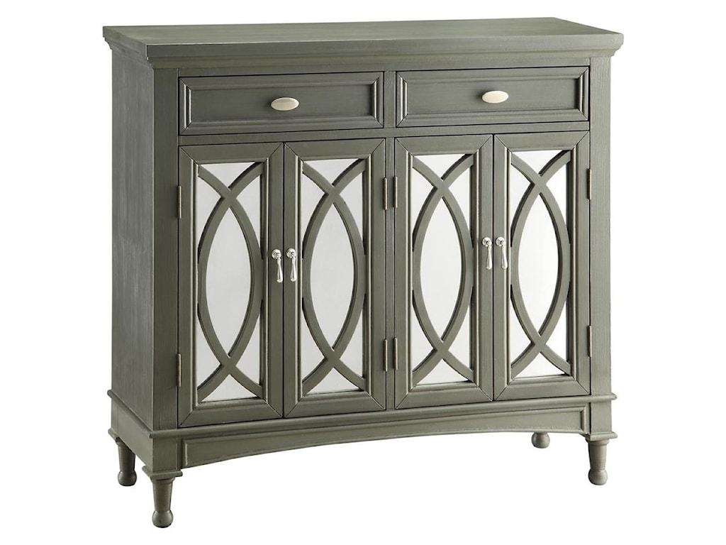 Dark Wood Mirrored Credenza : Crestview collection accent furniture park avenue grey & mirror