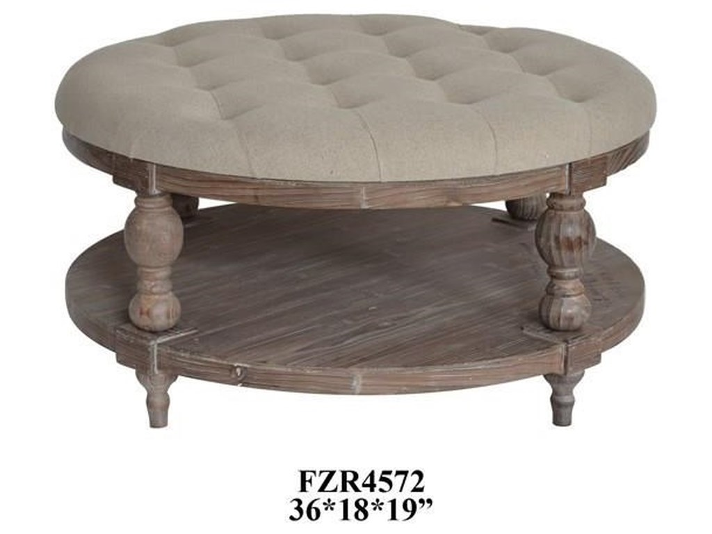 Crestview Collection Accent FurnitureTahoe Rustic Wood and Round Linen Ottoman