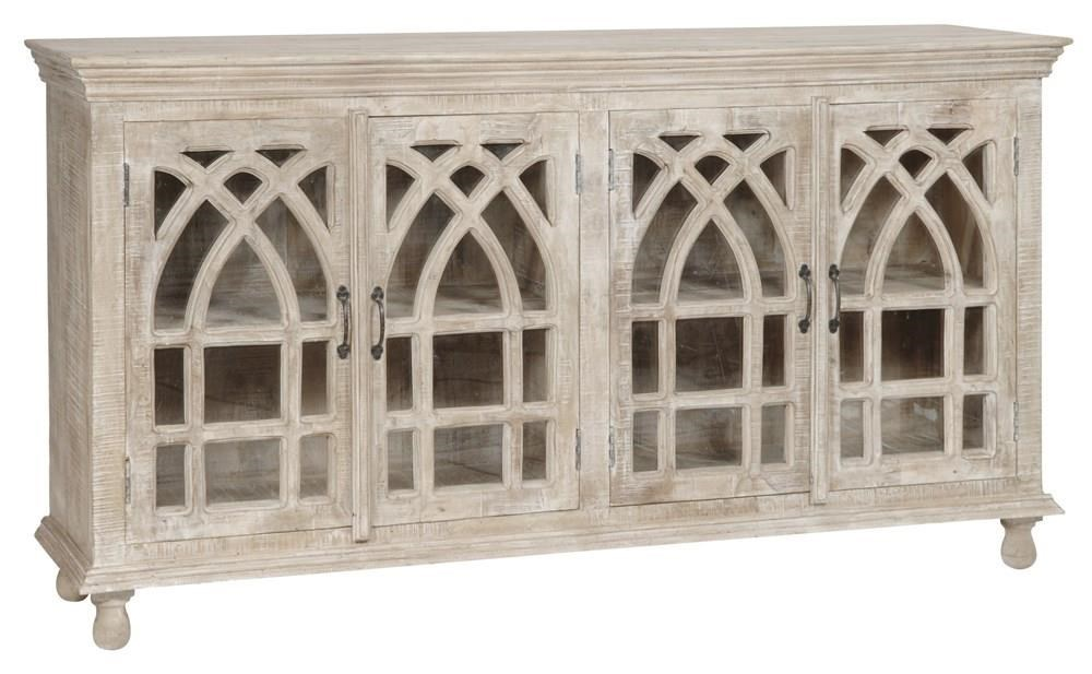 Crestview Collection Bengal Manor Cathedral Design Light Mango Wood 4 Door  Sideboard   Great American Home Store   Sideboards