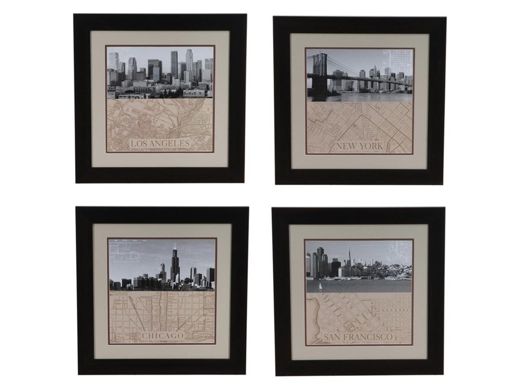 Crestview Collection Prints and PaintingsChicago,Ny,La,San Fransico Set 4