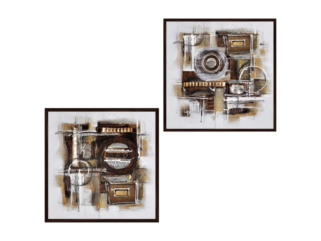 Crestview Collection Prints and PaintingsSet of 2 Hand Painted Canvas
