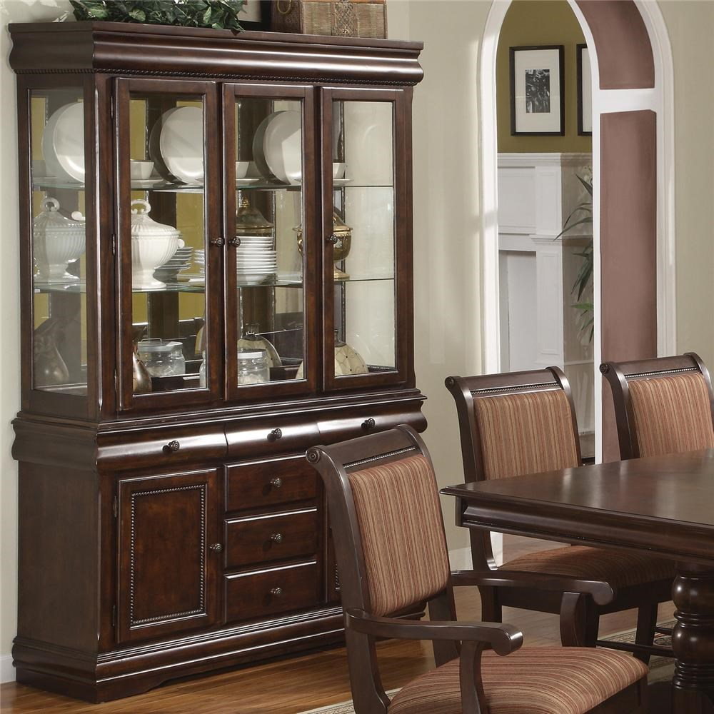 Crown Mark Merlot Buffet and Hutch with Three Glass Doors & Buffet and Hutch with Three Glass Doors - Merlot by Crown Mark ...