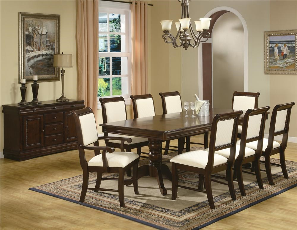 crown mark louis phillipe buffet with six drawers royal shown with dining table side chairs arm chairs