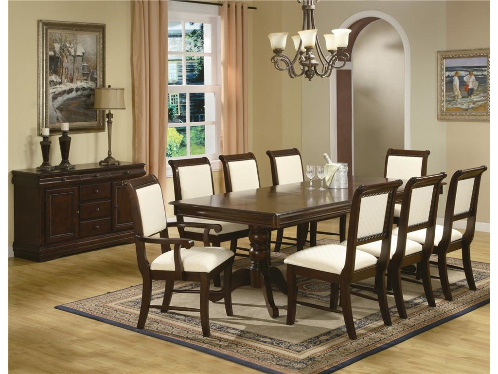 Shown with Dining Table, Side Chairs, Arm Chairs