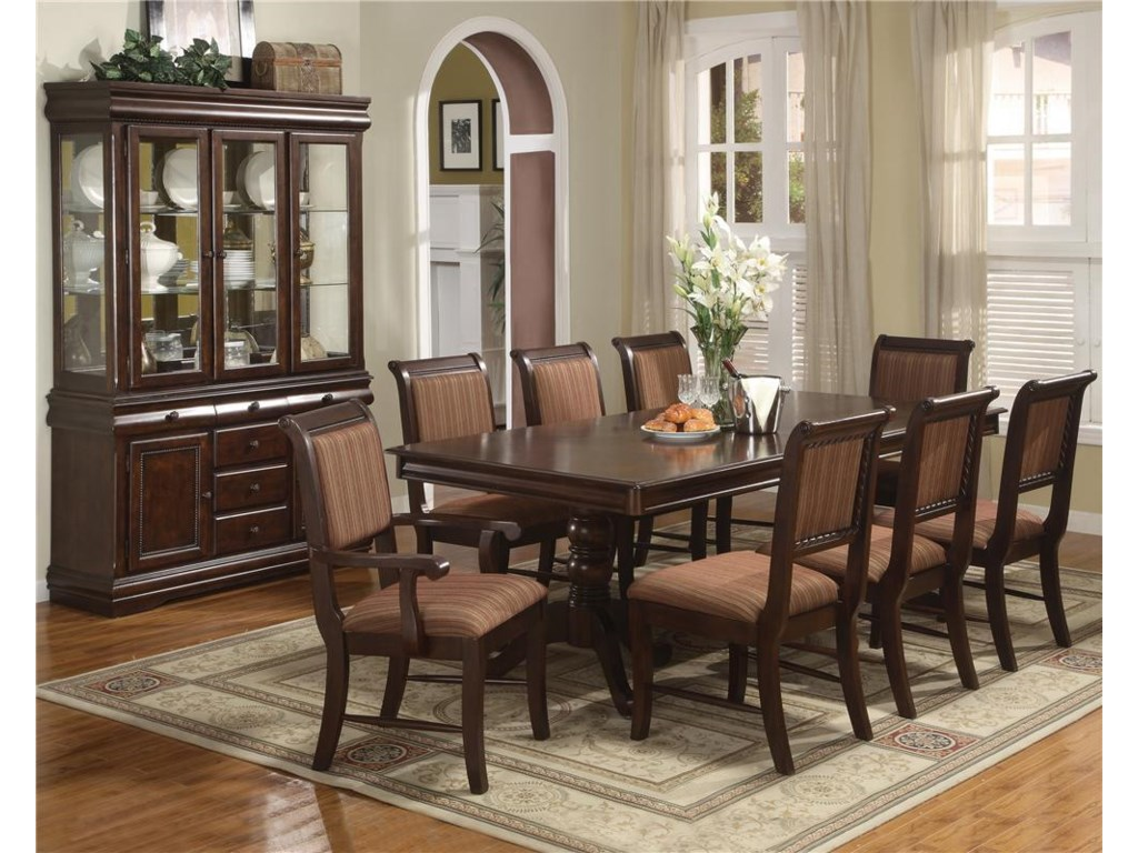 Crown Mark Merlot9 Piece Table & Chair Set