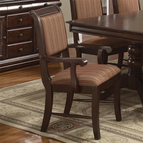 Crown Mark Merlot Dining Arm Chair with Striped Upholstered Seat and Seat Back