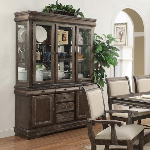 Crown Mark Merlot Buffet and Hutch with Three Glass Doors
