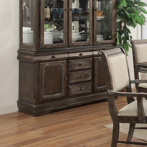 Crown Mark Merlot Buffet With Six Drawers Hutch Solid Separately