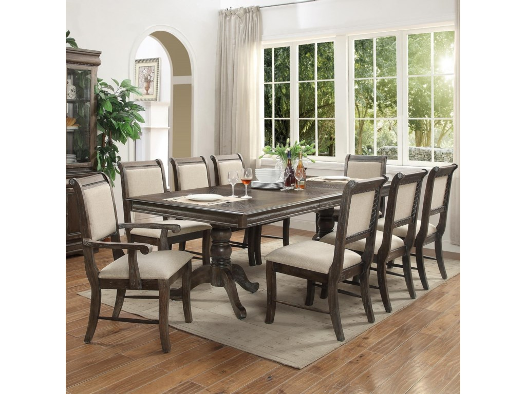 (Up to 40% OFF sale price) Collection # 1 Merlot9 Piece Table & Chair Set