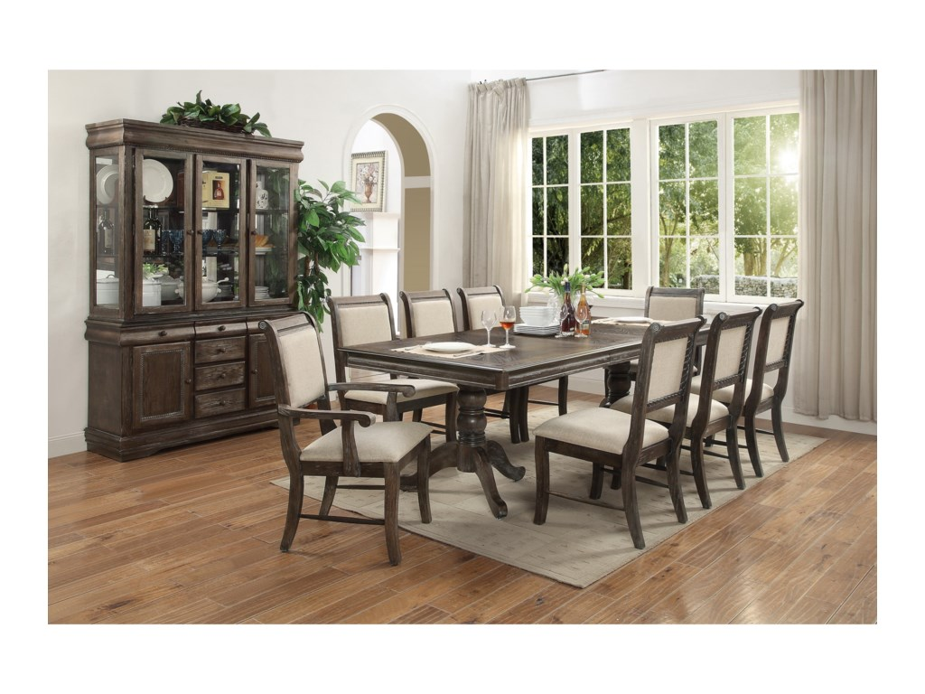 Del Sol CM Merlot9 Piece Table & Chair Set