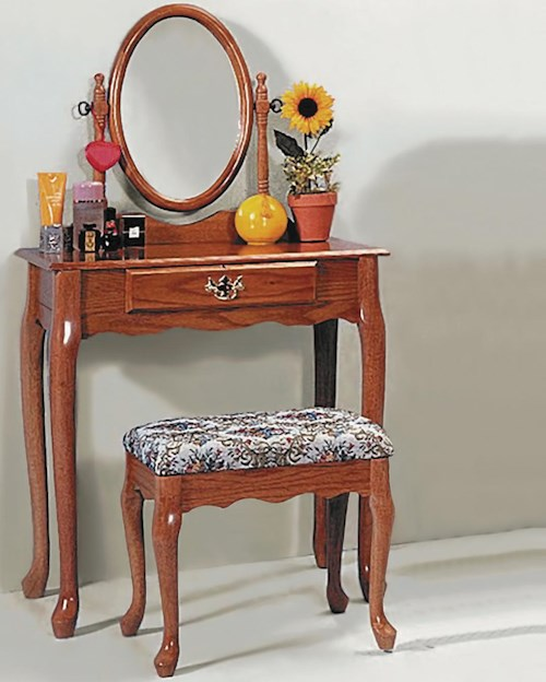 Crown Mark 2200 Rectangular Vanity Table & Matching Upholstered Stool