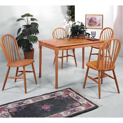 Crown Mark Farmhouse Rectangular Leg Table and Slat Back Chair Set