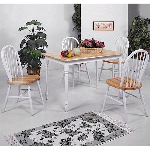 Crown Mark Farmhouse Rectangular Leg Table and Slat Back Chair Set