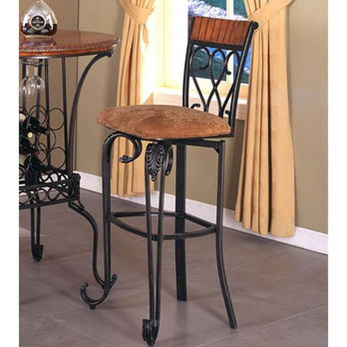 Crown Mark Alyssa Upholstered Seat Metal Bar Stool with Scrolled Feet